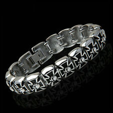 "8.2"" Men's Biker German Knight Iron Cross Pattée Skull Stainless Steel Bracelet"