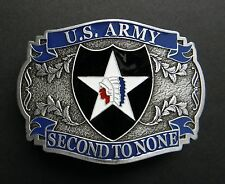 US ARMY 2ND INFANTRY DIVISION SECOND TO NONE PEWTER BELT BUCKLE 3.2 INCHES