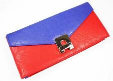 Ladies Designer Style Red & Blue Clutch Bag Faux Leather Roomy Evening / Daytime