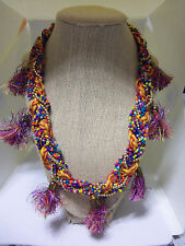 "20"" Adj Colorful Bead, Cord & Tassle Braided Fashion Necklace"