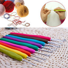 9pcs Ergonomic Grip Sharp Crochet Hook TPR Handle Aluminum Knitting Needles Set