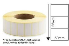 DIRECT THERMAL WHITE LABELS - 50mm x 25mm - 2,000 labels on roll