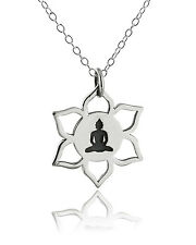 Lotus Flower Buddha Necklace - 925 Sterling Silver NEW Meditation Pendant Symbol