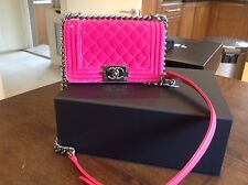 Authentic Chanel Hot Pink Velvet Small Boy Bag With Receipt