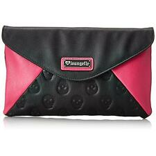 Loungefly 1498 Womens Skull Pink Faux Leather Clutch Handbag Purse Medium BHFO