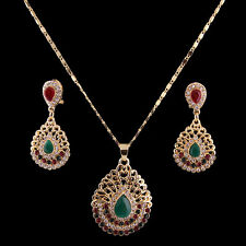 Swarovski Element Crystal Gold Plated Pendant Necklace Earring Jewelry Sets