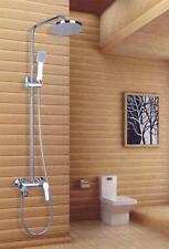 """Happnies Bathroom Chrome Rain 8"""" Shower Set Faucet With Handy Unit Tap TP091"""