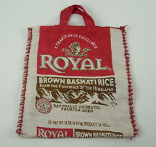 "Royal Basmati Rice Burlap Bag, Light Beige, Zippered Sack, Tote 14"" x 12"""