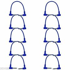 """10 PACK BLUE 1 ft foot Right angle to 1/4"""" Guitar pedal jumper patch cord cables"""