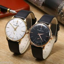 Compadre 8012G Male Seagull Mechanical Luminous Pointer Leather Band Wristwatch