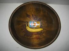 "Vintage Large Wood Oval Dough Bowl 17 3/4"" x 16 5/8"""