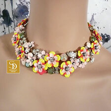 J Crew Fun Floral and Crystal Statement Necklace NWT $158  Style #F2798