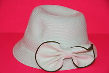 ELEGANT LADIES STRAW DERBY/BOWLER HAT ELEGANT BOW RIBBON UNIQUE STATEMENT(HT2)
