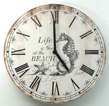 "Wood Nautical Wall Clock 12"" Wide ""Life is good at the Beach"" Battery Powered."