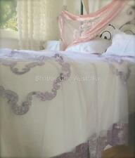 Shabby Bella Chic French Lace Velvet Queen / King Bed Quilt Lavender Bedspread