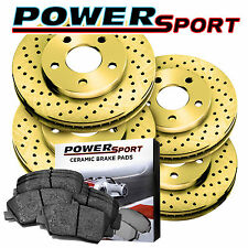 Full Kit Gold Drilled Brake Rotors and Ceramic Pads 2003-2007 Honda Accord