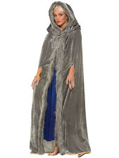 Ladies Game Of Thrones Grey Fur Trimmed Cloak Medieval Fancy Dress Costume Cape