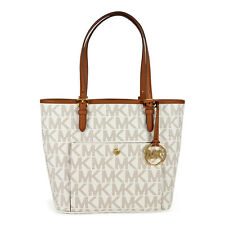 Michael Kors Jet Set Snap Pocket Medium Tote - Vanilla