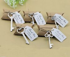 50 Wedding Favors Candy Boxes w Mixed Silver Skeleton Key Bottle Openers Tags