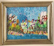 Vintage Old Judaica  Painting Holiday Folk Art   Signed by Harry Lieberman