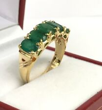 14k Solid Yellow Gold One Row Band Ring, Natural Emerald 2.5TCW. Sz 7.25