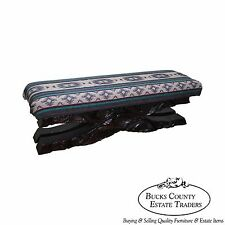 Witco Tiki Elvis Jungle Room Carved Redwood Window Bench