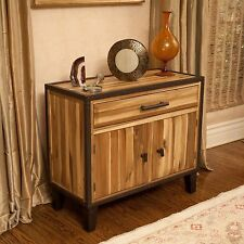 Rustic Industrial Design Solid Wood Storage Cabinet w/ Drawer