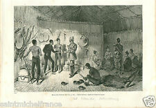 Village Casa House Ile Soulou Islands Philippines GRAVURE ANTIQUE OLD PRINT 1884