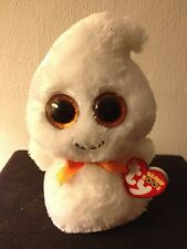 "Ty Beanie Boo Boos Ghosty the Halloween Ghost 6"" Red Tag with Glitter Eyes MWMT"
