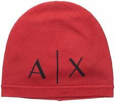 BRAND NEW MEN'S ARMANI EXCHANGE A|X KNIT RED BEANIE HAT CAP
