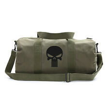 Olive Canvas Shoulder Duffel Bag-Sports Duffle The Punisher Skull