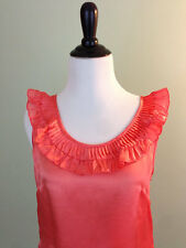 New J. CREW $88 ~ 100% Silk Size 2 Small Sleeveless Coral Pink Blouse Top Shirt