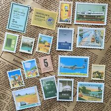 18 Stickers Vintage Stamps Transport Travel Plane Scrapbooking Card Diary Art