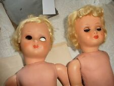 #425 AS IS FOR PARTS REPAIR 2 hard plastic jointed dolls Boy Girl made BELGIUM
