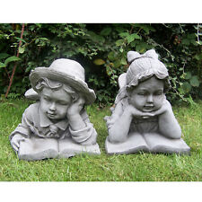 BOY AND GIRL WITH BOOK Hand Cast Stone Garden Ornament Statue Decor ⧫onefold-uk