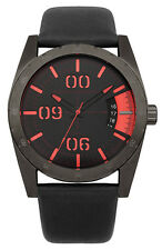 French Connection FC1169BB Black Dial Black Leather Strap Men's Quartz Watch
