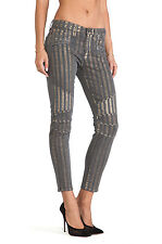 MOTO STRIPED SKINNY hudson jeans grey gold 25 24 mid-rise punk denim mid rise
