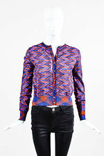 M Missoni NWT $595 Purple Red Textured Wavy Knit Spacedye Cropped Cardigan SZ 4