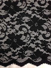 "New Fashion  Black Stretch Floral Lace Fabric Double Scalp Border 59"" 150 Cm"