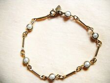 PRE-OWNED SARAH COV FAUX PEARL & GOLD TONE METAL CHAIN-LINK BRACELET