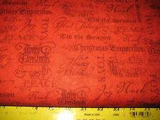 PRIMITIVE 100% CHRISTMAS EMPORIUM RED W/ HOLIDAY WORDING COTTON FABRIC 45""