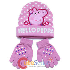 Peppa Pig Knitted Beanie Hat Gloves Set Hello Peppa Girls Winter Hat set Pink