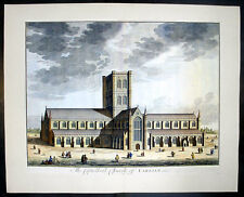 1724 Kip Large Folio Antique Print a View of Carlisle Church in Cumbria, England