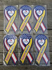 6 Lot  I LOVE USA - SUPPORT AMERICA  MAGNET - ribbon design w. heart punch-out