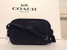 NWT. Coach Enamel Stud Leather F65988 Cross-body Pouch Bag Black F57587