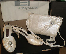 Vintage gino aldrovandi chaussures & sac bout ouvert bride arrière strass taille 38.5 - parti