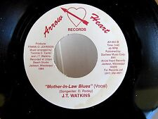 MISSISSIPPI BLUES 45: J.T. WATKINS Mother-In-Law Blues ARROW HEART prod FRANK-O