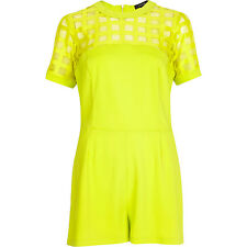 BNWOT River Island Yellow Amy Cage Mesh Evening Occasion Playsuit Size 14 NEW