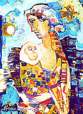 ACEO / Mother and Child / Maternity / LE Print of Original Painting by S Hahonin