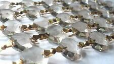 5 Yard Chandelier Crystal 14mm Octagon Crystal Prism Gold Tone Bow Tie Connector
